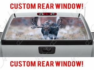 Moose Hunting Field Country Meadow Mist Truck Perforated Vinyl Window Decal