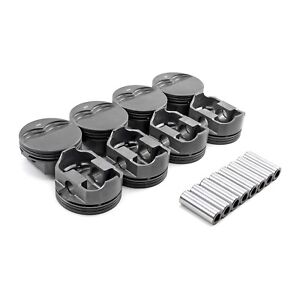 Small Block Chevy 350 383 Flat Top Hypereutect Pistons Coated 4 060 6 Rod