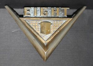 Rare 1955 1956 Nash Ambassador Trunk V8 Emblem Badge V Eight Brass