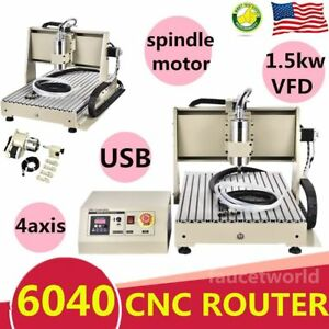 Usb 1500w Vfd 4 Axis 6040 Cnc Router Engraver Machine Engraving Metalworking 3d