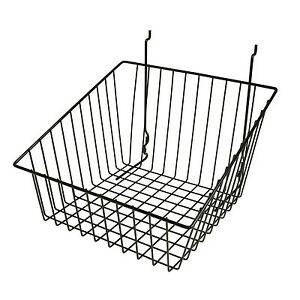 Slatwall Wire Basket Sloped Front 12 L X 12 D X 8 H Black 6 Pieces