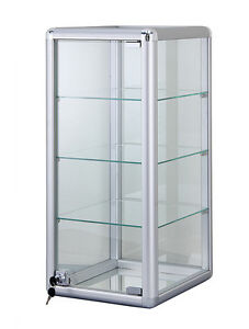 Silver Glass Counter Top Display Case 14 x 27 With Door Lock New York Pickup