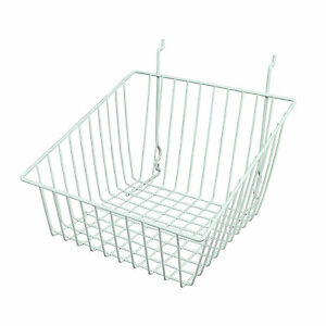 Slatwall Wire Basket Sloped Front 12 L X 12 D X 8 H White 6 Pieces