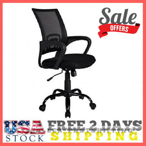 Ergonomic Chair Mesh Mid Back Reception Desk Task Seat Office Black W metal Base