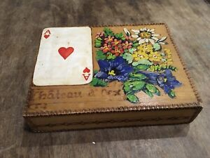 Vintage Wooden Playing Card Table Display Box Hand Painted