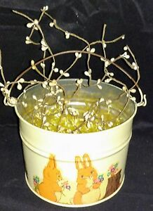 Vintage Easter Pail Metal Primitive Decor