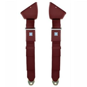 1968 72 Chevelle Retractable Lap Seat Belts Oe Style Pair Chevelle 66 73 Red 2