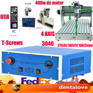 400w 4 Axis Cnc 3040 Router Pcb Wood Milling Engraving Drill Machine Cutter Usb