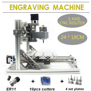 3 Axis 2418 Cnc Router Kit 24x18cm Er11 Laser Engraver Machine Diy Tool Grbl