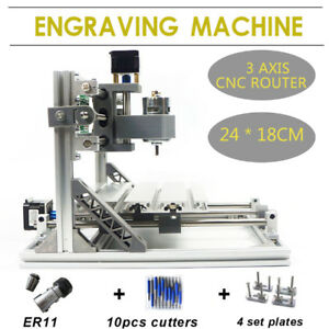 3 Axis Cnc Router Kit 24x18cm Er11 Laser Engraver Machine Diy Tool Grbl 2418