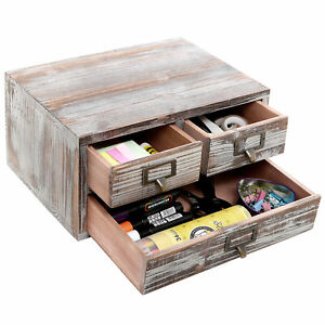Rustic Torched Finish Wood Office Storage Cabinet Jewelry Organizer W 3 Drawer