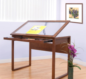 Drafting Table Adjustable Wood Glass Top With Tilt For Architects Art Designers