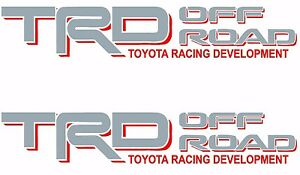Trd Off Road Silver Red Decals Vinyl Stickers Toyota Tundra Tacoma Truck Logos