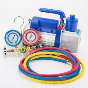 A c Manifold Gauge Hose Air Conditioner R134a 3cfm Rotary Vane Vacuum Pump To