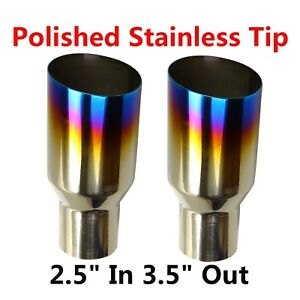 2x Blue Burnt Exhaust Single Slant Cut Tip Polished Stainless 2 5 In 3 5 Out