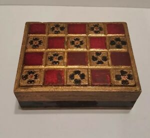 Vintage Florentine Toleware Italy Wooden Box Gold Black Red Accents