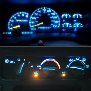 14 Ice Blue Led Kit For 1992 1999 Chevrolet Trucks Gauge Cluster And Ac Controls