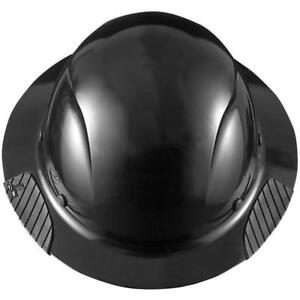 New Lift Safety Hdf 15kg Dax Full Brim Black Hard Hat W Ratchet Suspension