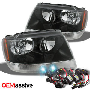 Fit 99 04 Jeep Grand Cherokee Black Headlights Ballast 8k Blue White Hid