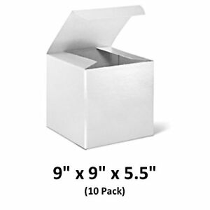 White Cardboard Tuck Top Gift Boxes 9x9x5 5 10 Pack Magicwater Supply