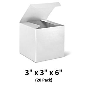 White Cardboard Tuck Top Gift Boxes 3x3x6 20 Pack Magicwater Supply