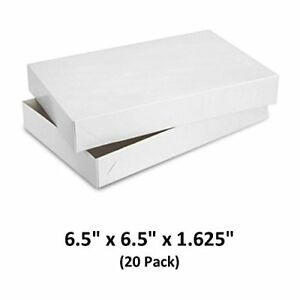 White Gloss Cardboard Apparel Decorative Gift Boxes 6 5x6 5x1 5 8 20 Pack