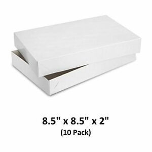 White Gloss Cardboard Apparel Decorative Gift Boxes 8 5x8 5x2 10 Pack