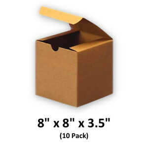 Brown Cardboard Kraft Tuck Top Gift Boxes With Lids 8x8x3 5 10 Pack