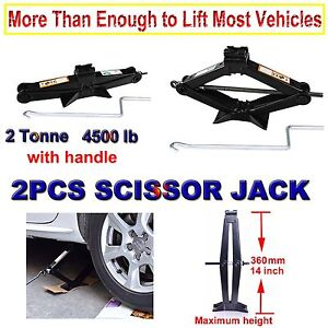 2ton Scissor Jack For Car ford dodge chevy Truck Repair Tool 3 5 14 Handle Pair