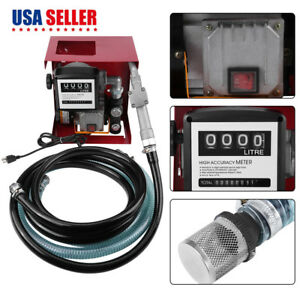 Electric Diesel Oil Transfer Pump 110v Fuel Manual Nozzle 13 Hose W Meter Us