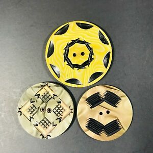 3 Carved Bakelite Celluloid Old Buttons 2 Hole
