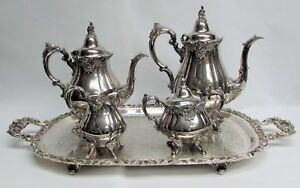 Wallace Baroque Antique Plate 4 Pcs Coffee Tea Set On Footed Crescent Tray