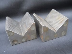 Magnetic Transfer V block Set Grinding Machining 3 X 3 X 2 Magnet Blocks Pair