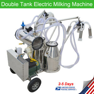 Us Double Tank Electric Milker Milking Machine Vacuum Pump For Farm Cow 24cows h