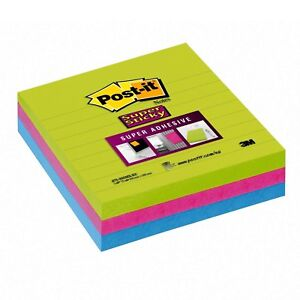 Post it Super Sticky Notes 4 In X 4 In Assorted Bright Colors Lined 3