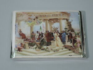 Antique Cigarette Case Classical Scene Austrian 900 Silver Enamel