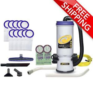 Proteam 10 Qt Super Coachvac Hepa Backpack Vac W Wand Kit 12 Bags 107109