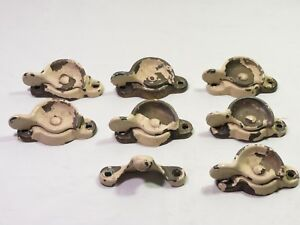 Antique Lot Of 7 Cast Iron Crescent Style Window Sash Lock Latch Stamped 454