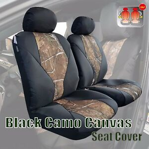 2pcs Premium Camo Black Canvas Car Seat Covers Universal For Civid Accord Camry