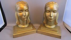 Rare Antique Frankart Art Deco Lady Woman Head Statue Sculpture Book Bookends