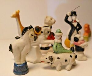 Antique Bisque Miniatures The Circus Cake Toppers 13 Figurines Japan