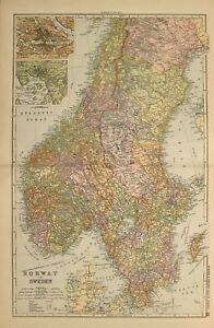 1898 Antique Map Norway Sweden Stockholm Christiana Gottland Wisby