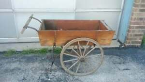 Antique Old Wooden Wheel Hot Dog Snack Food Concession Push Cart