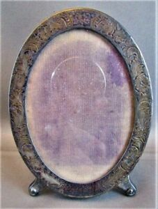 Antique 1800 S Sterling Silver Oval Photo Frame Floral Embossed