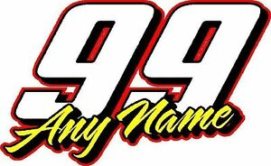 Race Number Vinyl Decal Sticker Your Name Number Custom Race Team