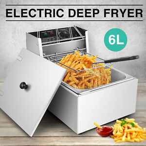 Electric Countertop Deep Fryer Dual Tank Commercial French Fry Cooking Warm 12l