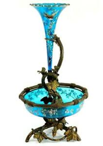 Art Nouveau Moser Glass And Bronze Epergne