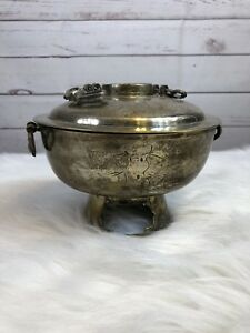 Vintage Silver Plated Ornate Chafing Dish Victorian Buffet Warmer W Stand