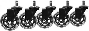 3 In Black Office Chair Caster Wheels set Of 5