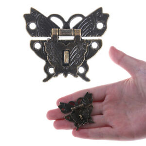 Butterfly Buckle Hasp Wooden Box With Lock Buckle Antique Zinc Alloy Padlock